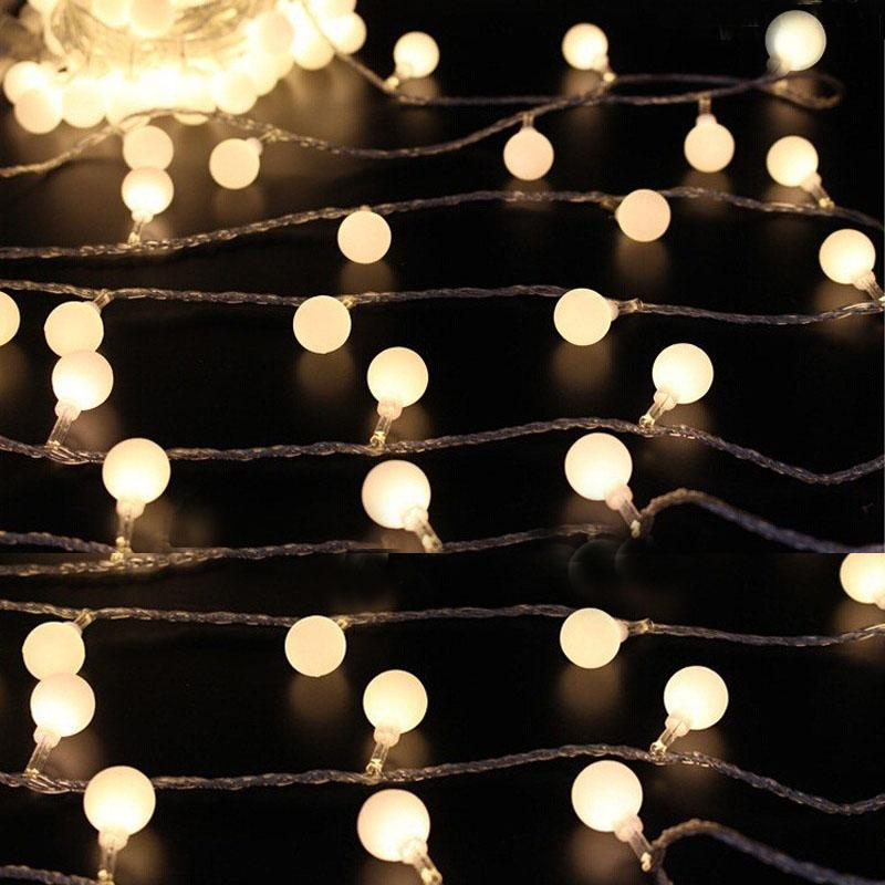 2M 10M 20 // 50 / 80Led Fata Luci natalizie Batteria a sfera Luci a LED per feste per matrimoni all'aperto al coperto