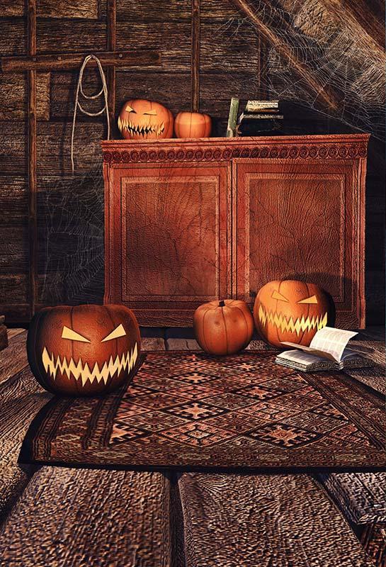 Pano de Fundo Halloween Abóboras Teia de Aranha em Brown Velho Quarto Fundos para Estúdio de Fotografia Fotografia Acessórios Pano De Vinil Personalizado