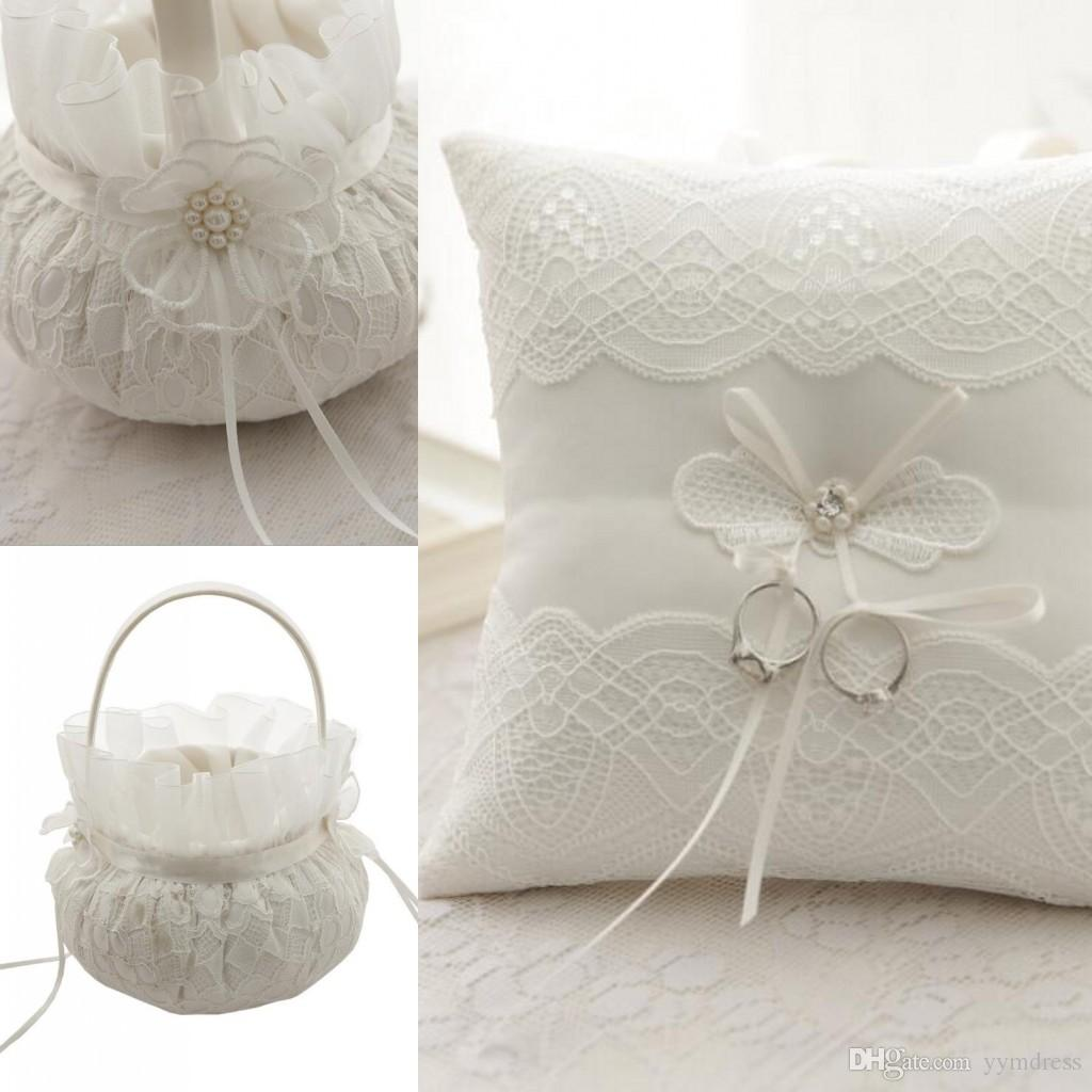 2020 Lace Ring Bearer Pillow Ring Pillows Flower Baskets Sets