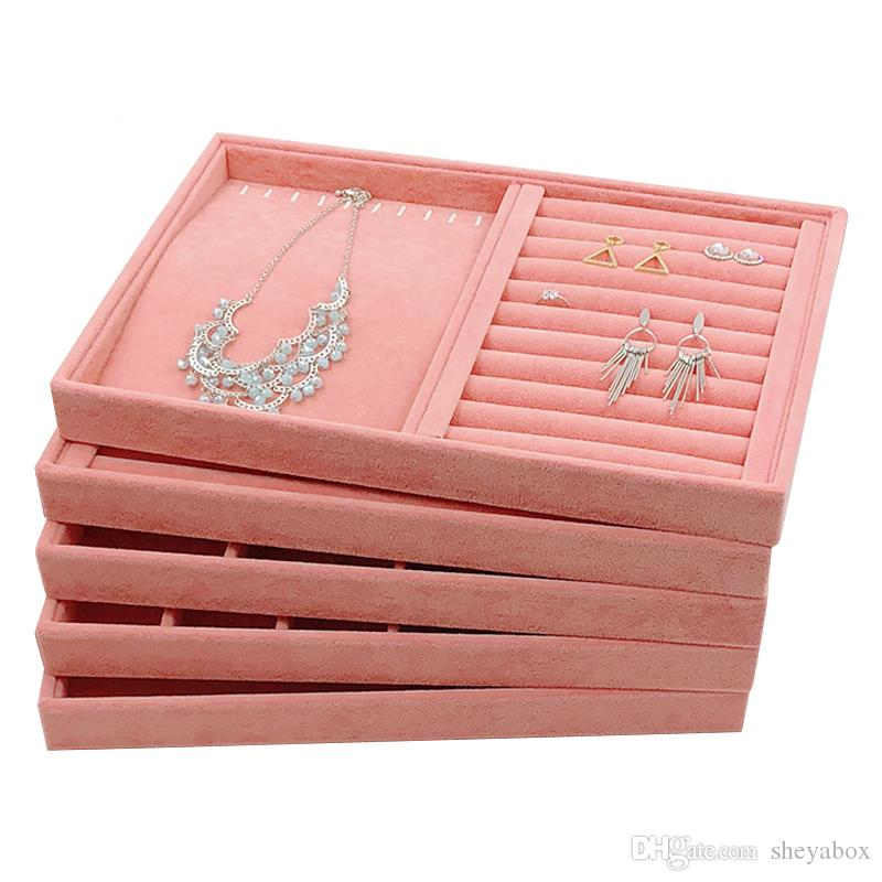 Pink Velvet Jewelry Display Tray without Lid Ring Necklace Earrings Lattice Trays for Jewellery Showcase Kiosk Accessories Organizer 35*24cm
