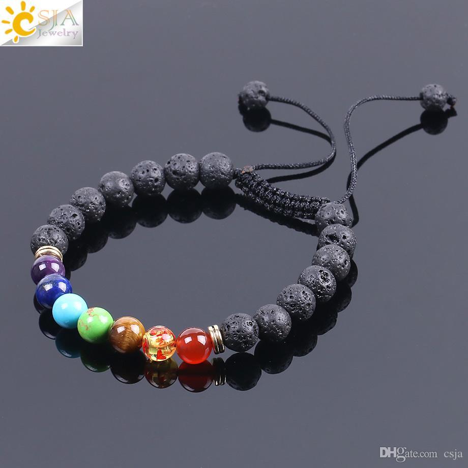 Csja Chakra حجارة سوار مع أحجار ملونة خرز حجر كريم طبيعي أسود