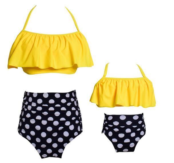الجملة 2018 الوالدين والطفل السباحة الطباعة عالية الخصر بيكيني منزعج منذر وابنته ملابس الشاطئ ارتداء الاستحمام الدعاوى الشحن مجانا