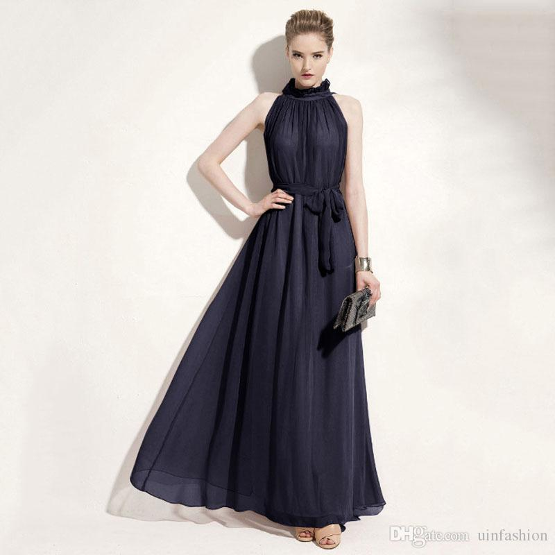 Sexy Women Dress Bohemian Hanging Neck Dresses Chiffon Floor Length Long Skirt Elegant Solid Party Weeding Ladies Clothing