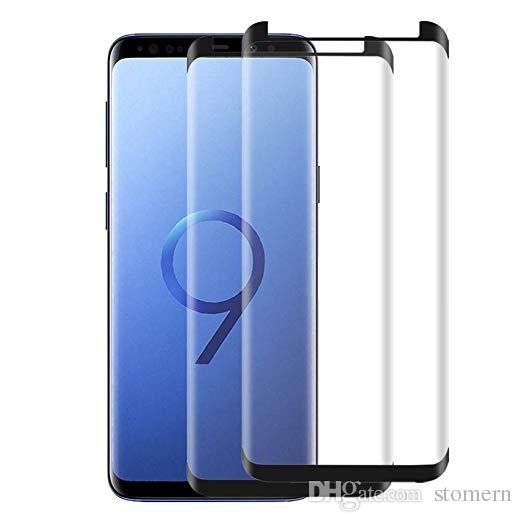 Caso Amigável Protetor de Tela De Vidro Temperada Para Samsung Galaxy S9 S9 + Nota 20 10 9 8 S8 S8 + Mais S7 S10 S10E S10 S20 Ultra S21 3D Culpe de borda curvo com caixa de varejo