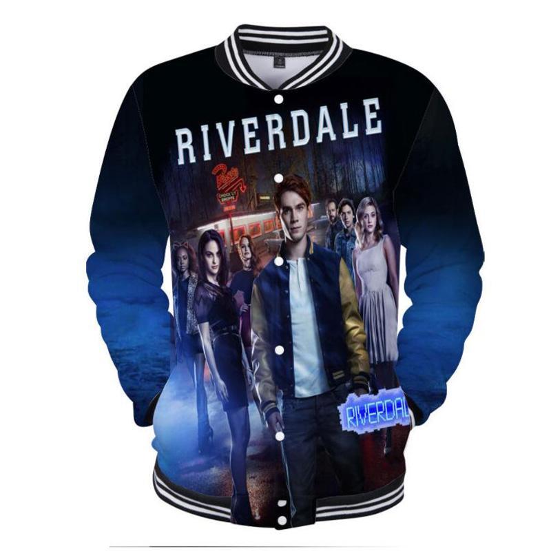 Hip Hop Fashion Brand Abbigliamento Riverdale Southside Serpenti 3D Print College Giacche da baseball Cappotti Uomo Donna Felpa con cappuccio