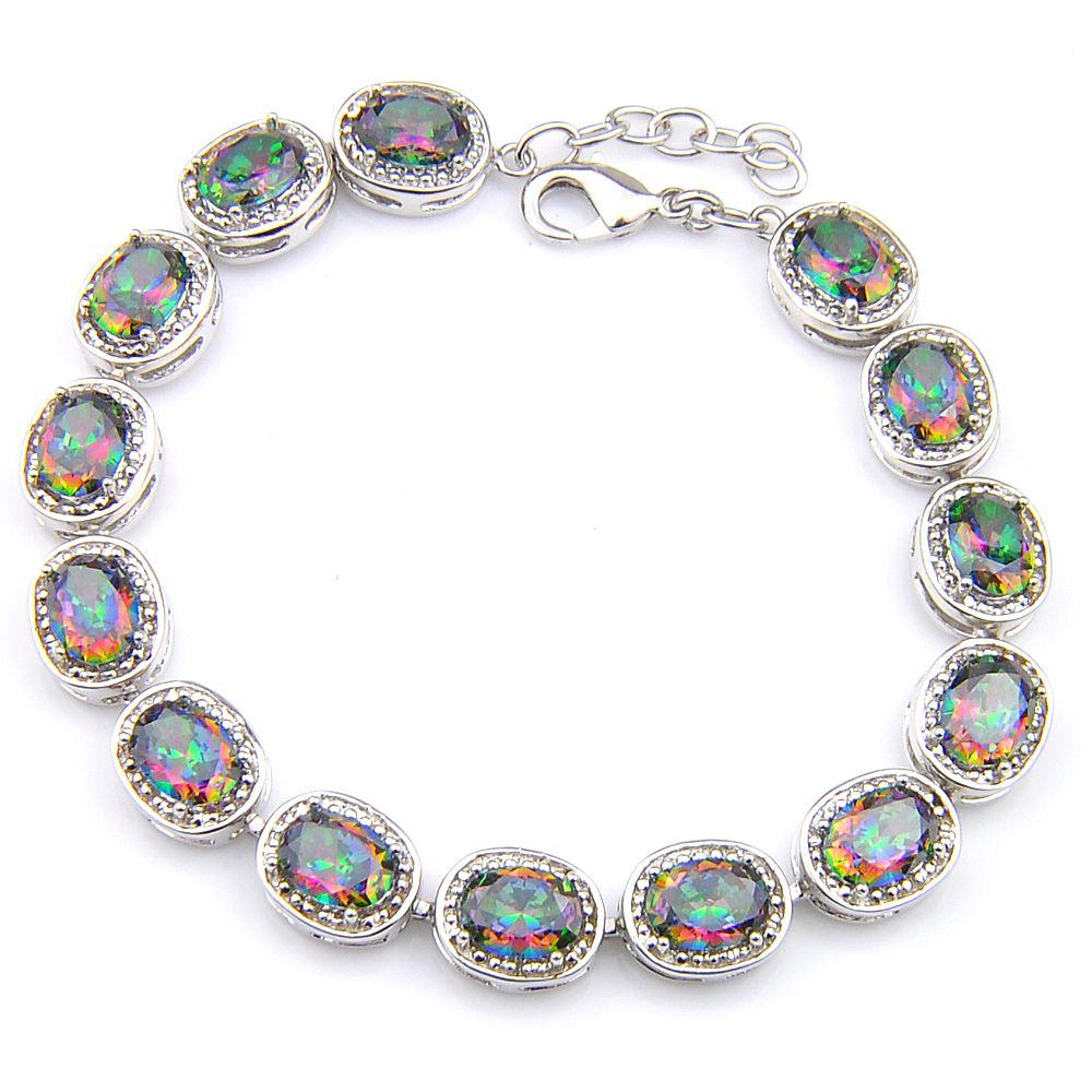 Wysokiej jakości Owalny kształtny cięcie Naturalny Mystic Rainbow Topaz Gemstone Srebrny Bransoletka Bransoletka dla kobiet Miłośników Bransoletki
