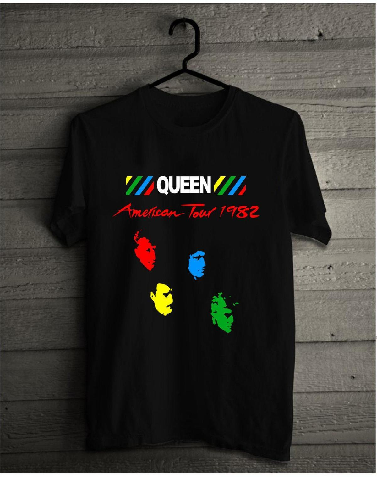 Queen Vintage T Shirt 1982 Hot Space Tour Freddie Mercury Under Pressure  Reprint High Quality Custom Printed Tops Hipster Tees T Shirt T Shirts