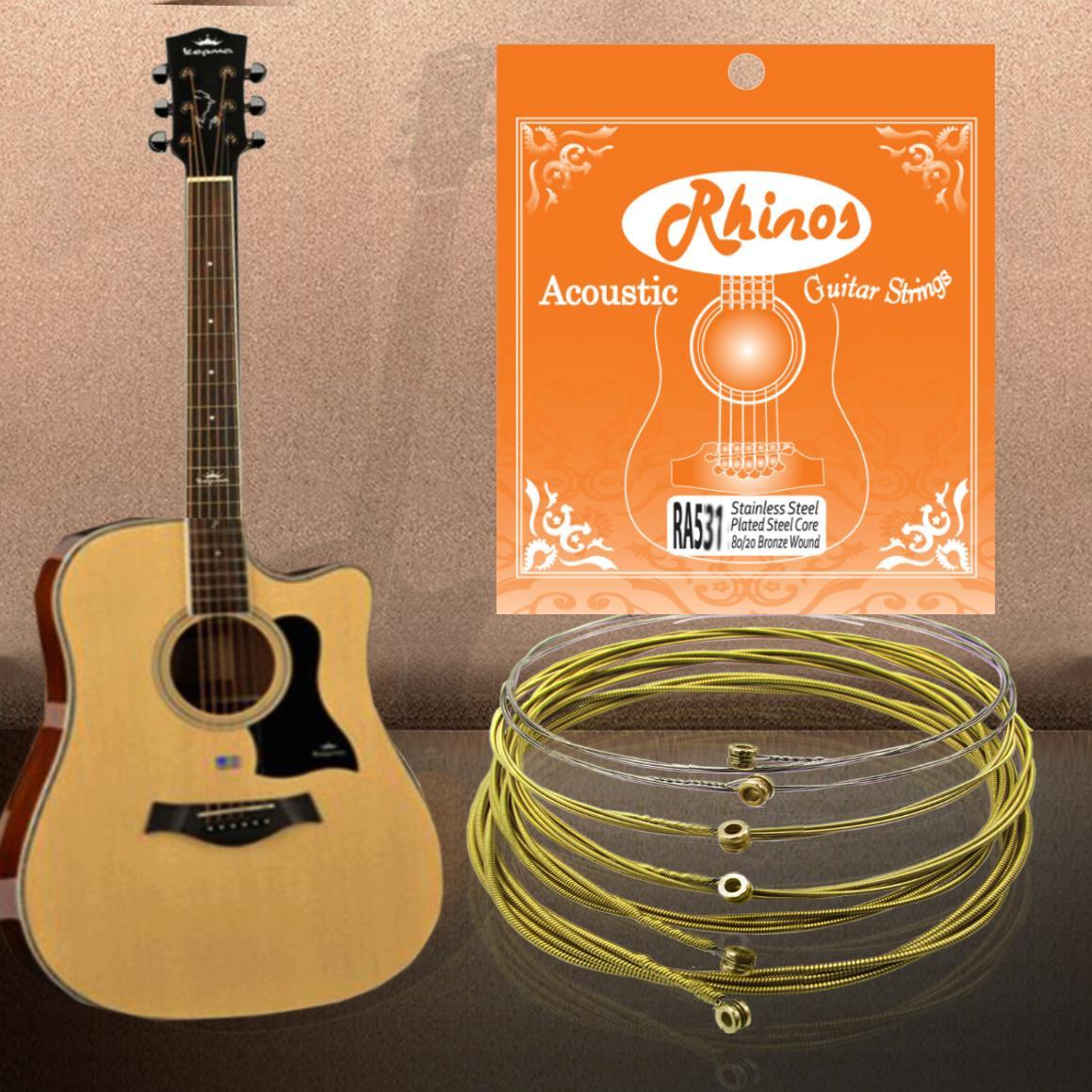 Rhinos RA531SL Акустическая гитарная струна Медная рана Super Light Tension.011-.052