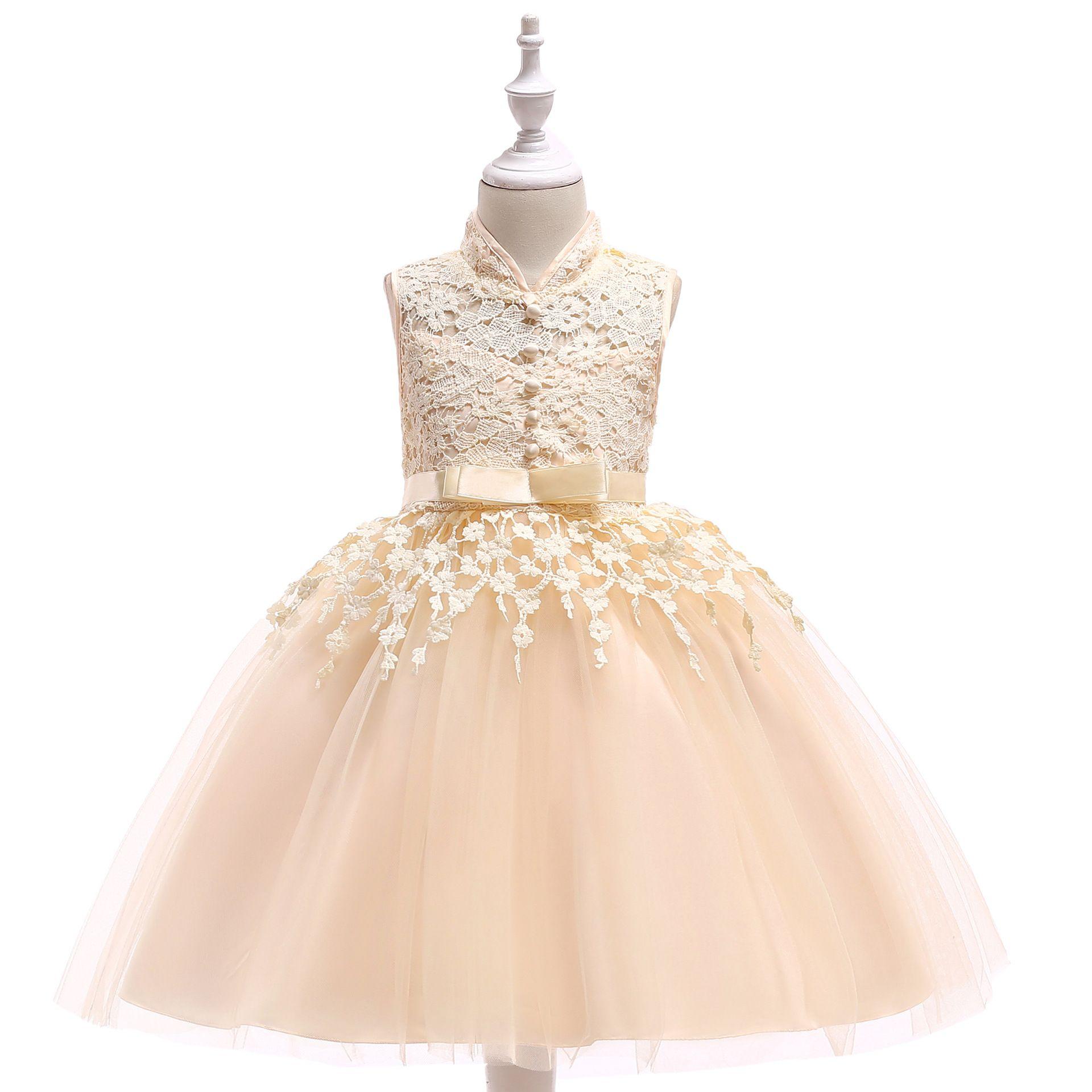 Champagne 2018 Flower Girl Dresses per Matrimoni abito di sfera con collo alto Tulle pizzo perle lunghi prima comunione abiti per le bambine