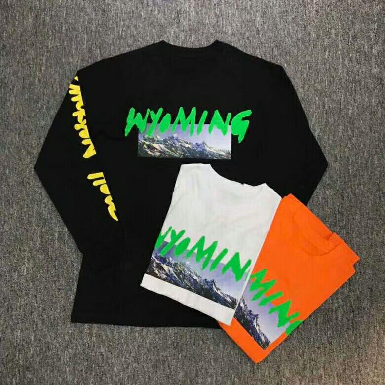 2018 Latest TOP Kanye West Season 5 Wyoming Mountains Pattern Letter  Printing Men Long Sleeve T Shirt Hip Hop Casual Cotton Tee Rude Tshirts  Offensive