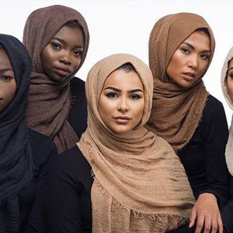 Women Cotton Bubble Plain Wrinkle Hijab Scarf with Fringes Popular Muslim Muffler Shawls Wraps Large Pashmina LIC 180x100cm#S