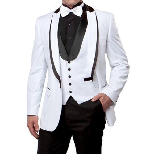 Neuheiten One Button Weiß Bräutigam Smoking Spitze Revers Groomsmen Best Man Herren Hochzeit Anzüge (Jacke + Pants + Weste + Tie) D: 145
