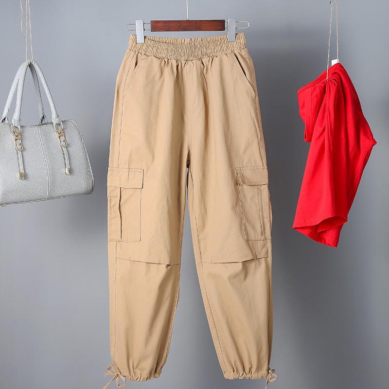 Compre Las Mujeres De Cintura Alta De Color Caqui Pantalones De Carga De Moda Bolsillos Sueltos Pantalones Para Mujer Streetwear Patchwork Lapiz Sudor Pantalones Inferiores A 11 6 Del Xunmi Dhgate Com