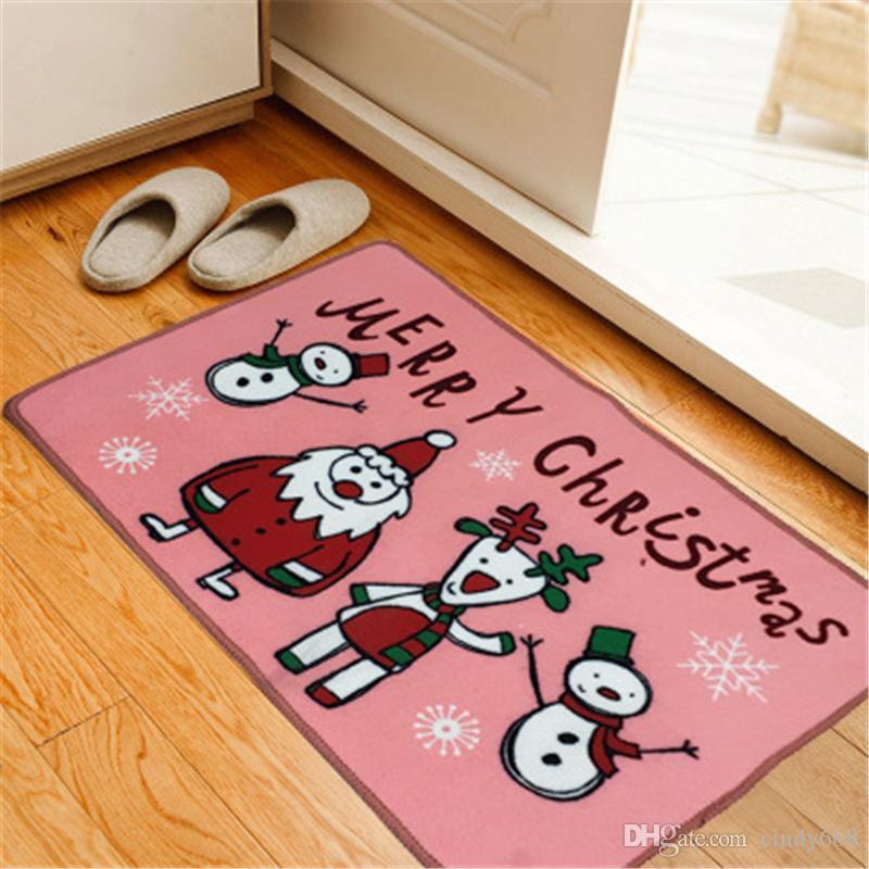 Living Room Kitchen Doormat Cartoon Pattern Rugs For Kitchen Christmas Printed Floor Mat Bath Carpet Hall Bedroom Bathroom Anti-skid Mat Pad