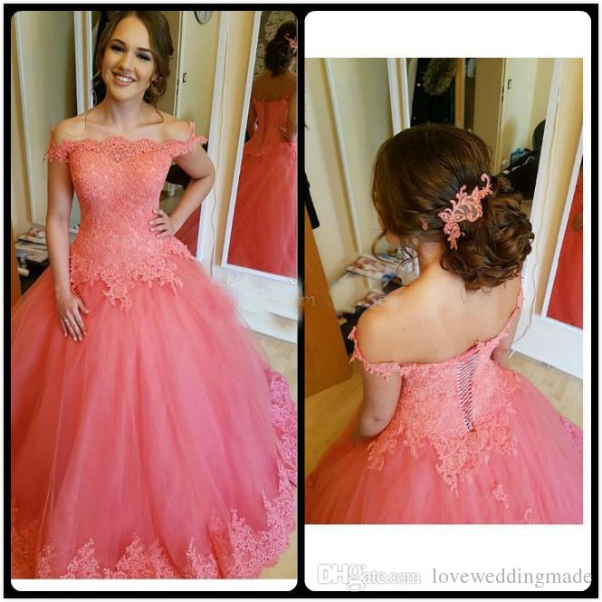 Coral Applique Lace Off Shoulder Prom Dresses Tulle Floor Length Lace-up Back Formal Party Gowns For Quinceanera Buyer Showed Hot Sale