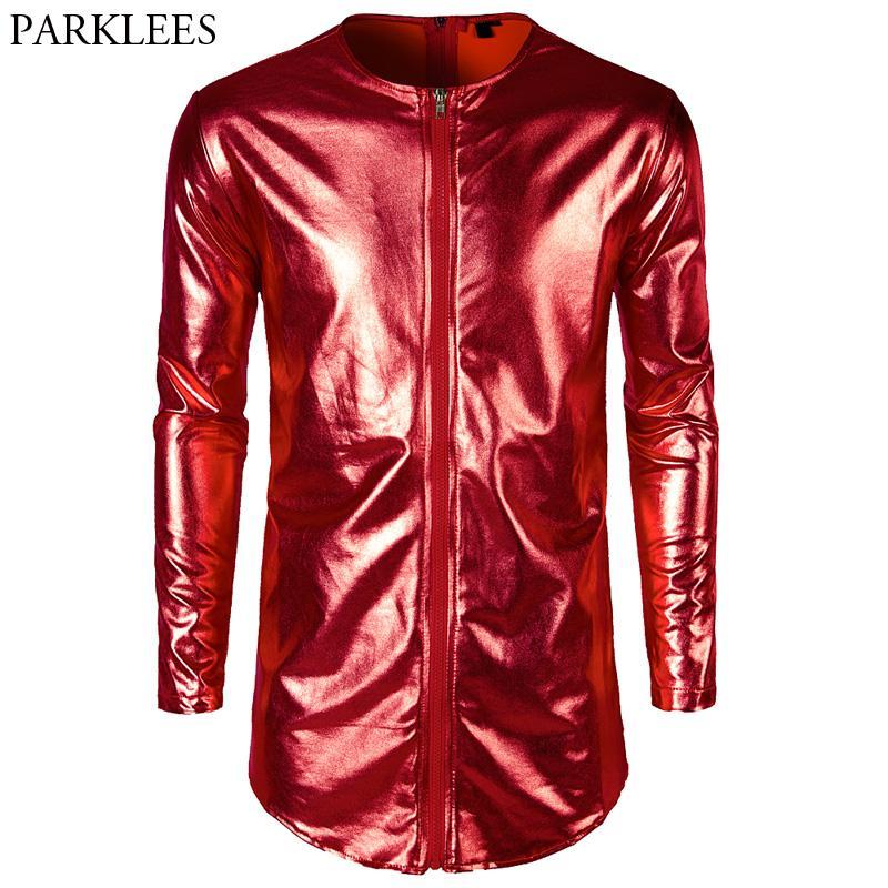 Hip Hop Longline T Shirt uomo 2018 Nuovo lucido rosso Metallic Mens T-shirt Slim fit manica lunga Nightclub Tee shirt Homme Top Tees