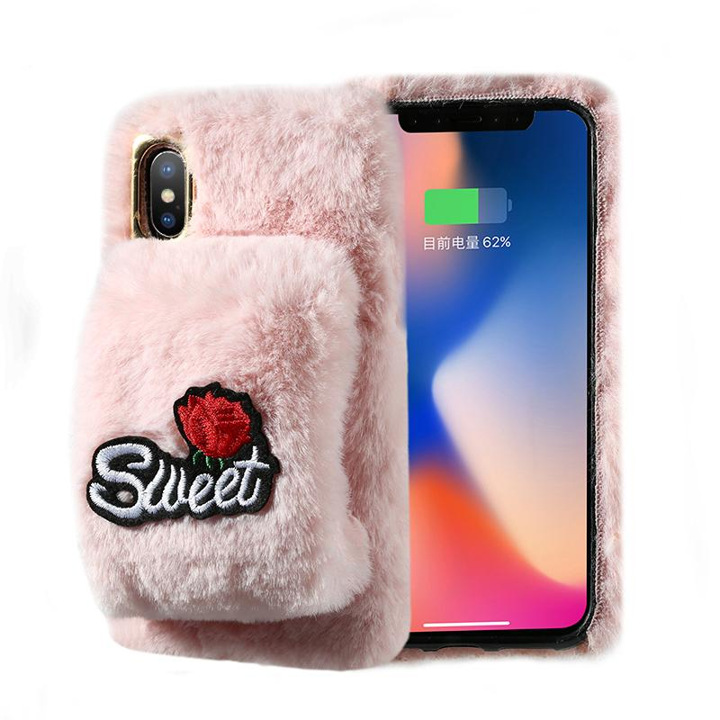 low priced 70bf0 5b341 Cute Fluffy Rabbit Fur Phone Case For IPhone X Xr Xs Max Case Warm Glove  Soft Furry Cover For IPhone 10 8 7 Plus 6 6S Plus Cases Silicone Cell Phone  ...