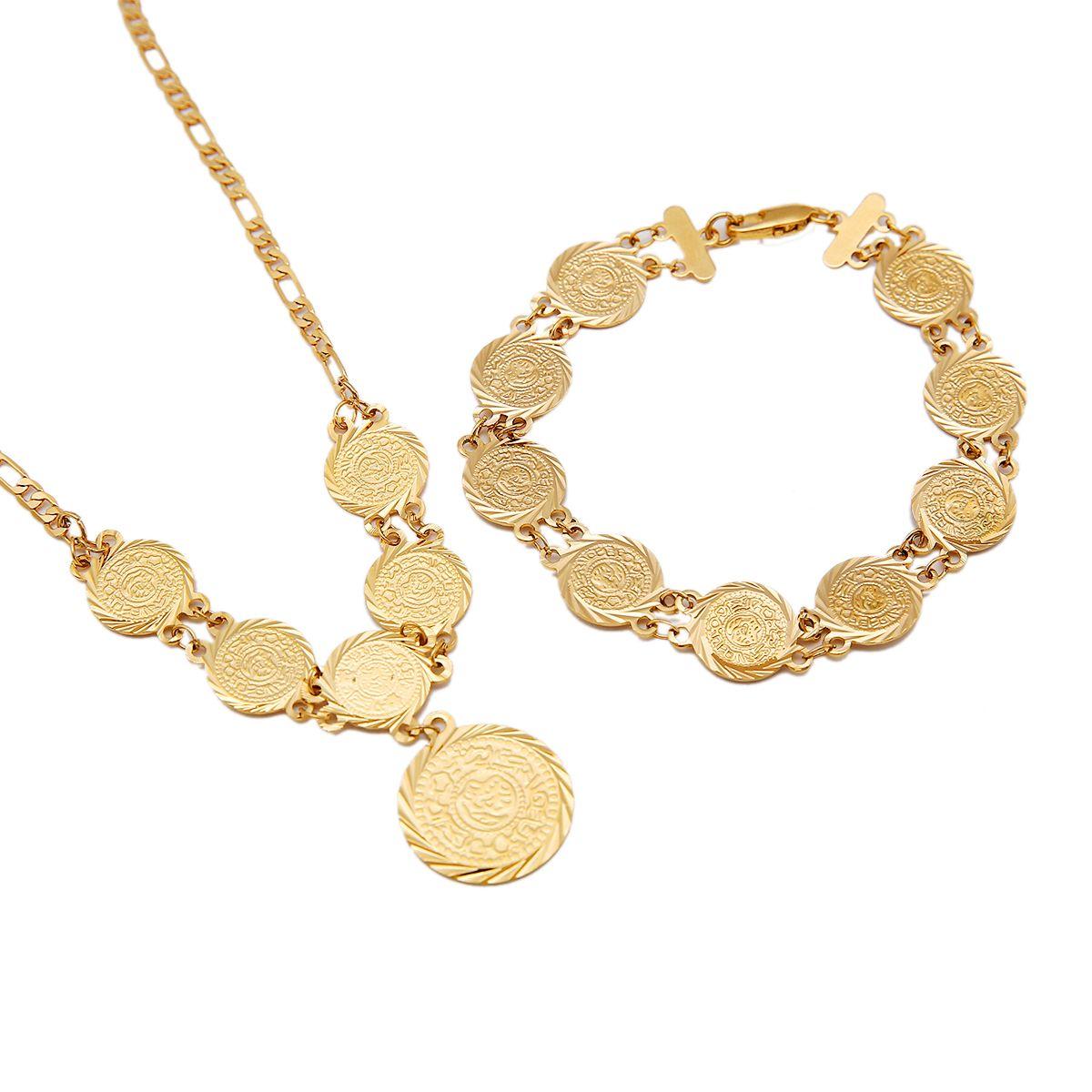 Goldmünzen-Anhänger-Halskette mit Armband Arabischer Nahen Osten Antike Münzen Schmuck Indische Hochzeit Armband