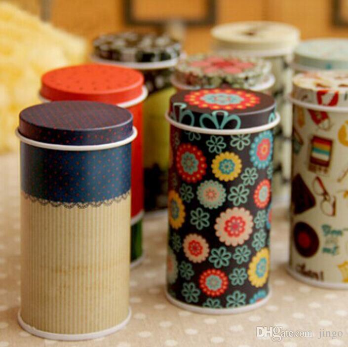 Storage Tin Box Zakka Organizer Small Decorative Tins Box Flowers Design Item Containers Gift Novelty nt