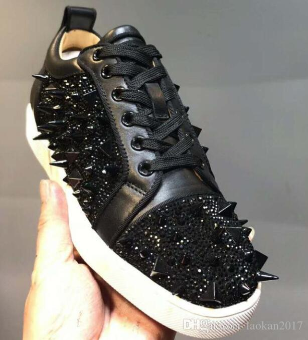 2018 Red Bottoms Sneakers Schuhe für Männer Casual Women Luxus Herren Blue Crystal Outdoors roten Boden Designer chaussures zapatillas Größe 36-47