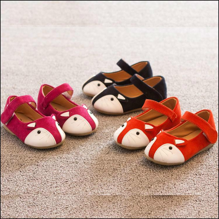 HOT Kids Cute FOX Shoes girls cartoon Leather Shoes Children Magic Tape Soft Bottom Casual Shoes envío gratis