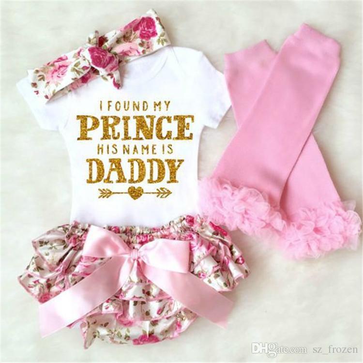 Baby girl INS lettere pagliaccetti tutina bambini pagliaccetti triangolo manica corta + pantaloni pp + bowknot fascia per capelli + leggings 4 pezzi imposta vestiti A-653