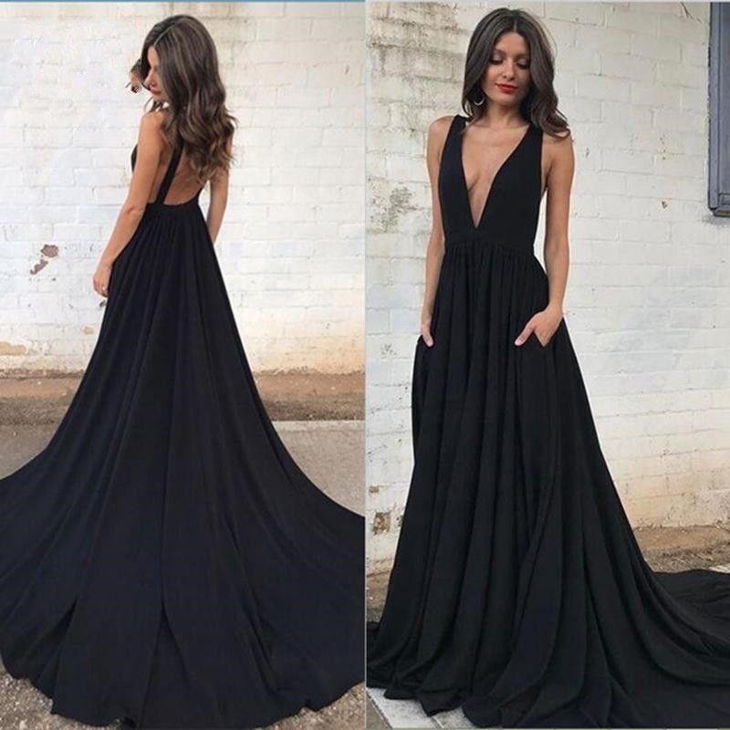 Compre 2019 Sexy Negro Profundo Escote En V Vestidos Formales Vestido De Fiesta Espalda Abierta Con Pliegues Drapeados Vestidos De Noche Vestido De
