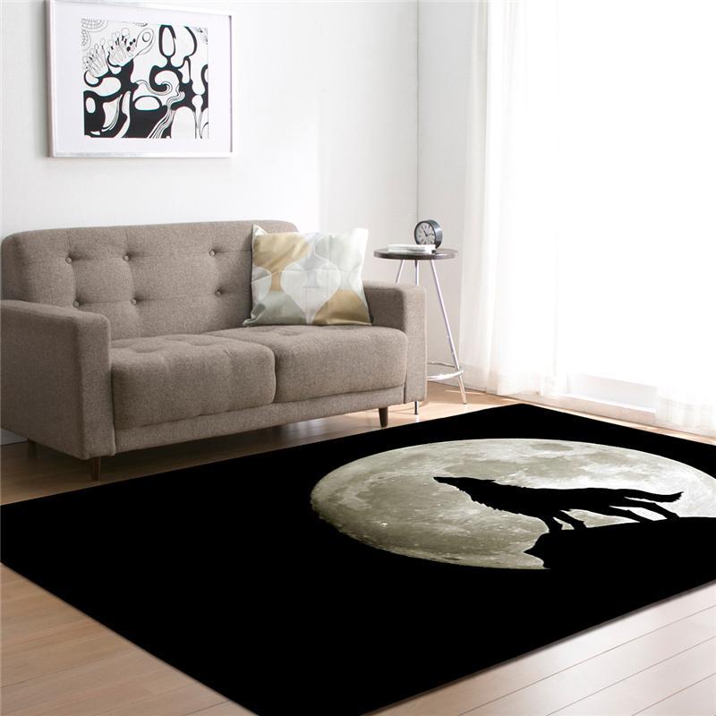 거실 침대 룸 복도 대형 사각형 영역 요가 매트 현대 야외 바닥 매트 홈 인테리어에 대한 3D 늑대 인쇄 카펫
