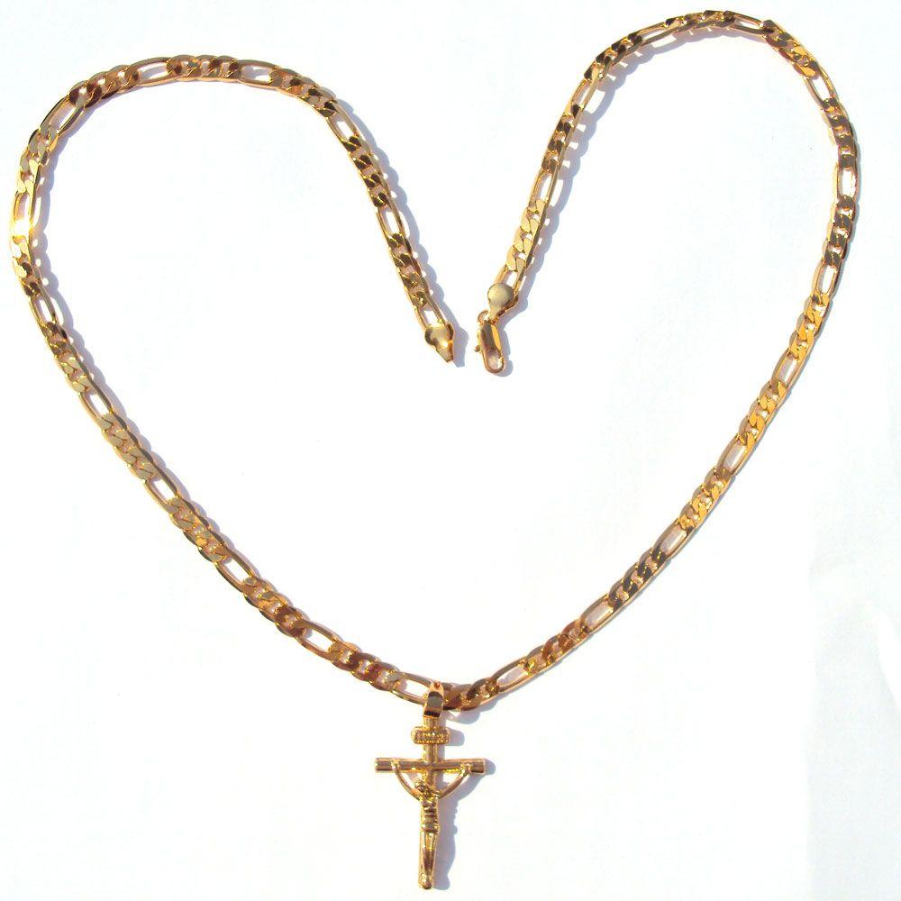 """24 كيلو الصلبة الذهب الأصفر gf 6 ملليمتر الإيطالية فيجارو رابط سلسلة قلادة 24 """"إمرأة رجل يسوع الصليب قلادة"""