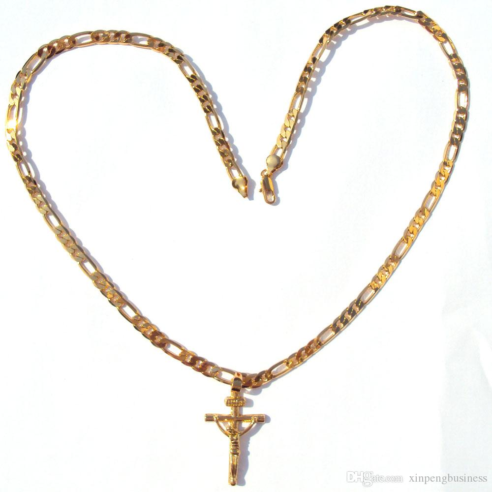 "24 Karat Solide Gelbgold GF 6mm Italienische Figaro Link Kette Halskette 24 ""Damen Herren Jesus Kruzifix Kreuz Anhänger"