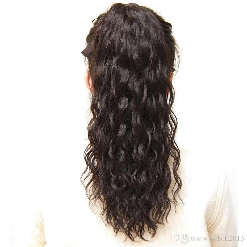 Cheap diretto fabbrica 100% dei capelli umani colore naturale diritto Coda di cavallo parrucchino clip in un unico pezzo Wrap Around Poytail estensioni dei capelli umani