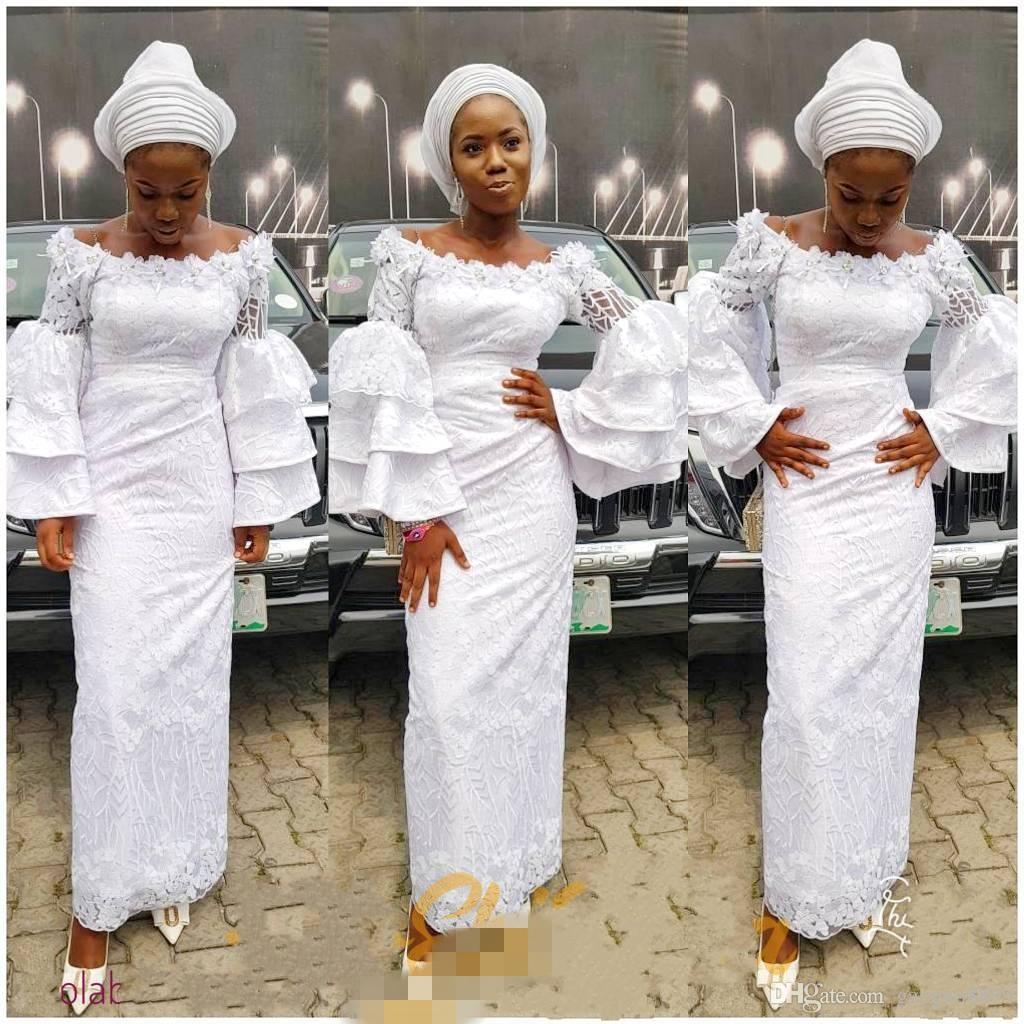 Estilos de encaje nigeriano blanco 2019 Vestidos de fiesta de sirena africana Ropa de fiesta de noche Longitud del tobillo Chica negra Manga larga con gradas Sin respaldo