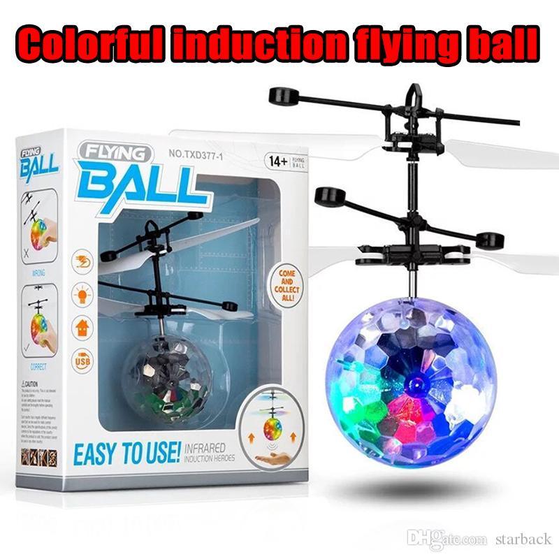 تحلق المروحية الكرة الطائرة الهليكوبتر أدى ضوء وامض حتى لعب التعريفي لعبة كهربائية استشعار أطفال الأطفال عيد الميلاد مع حزمة