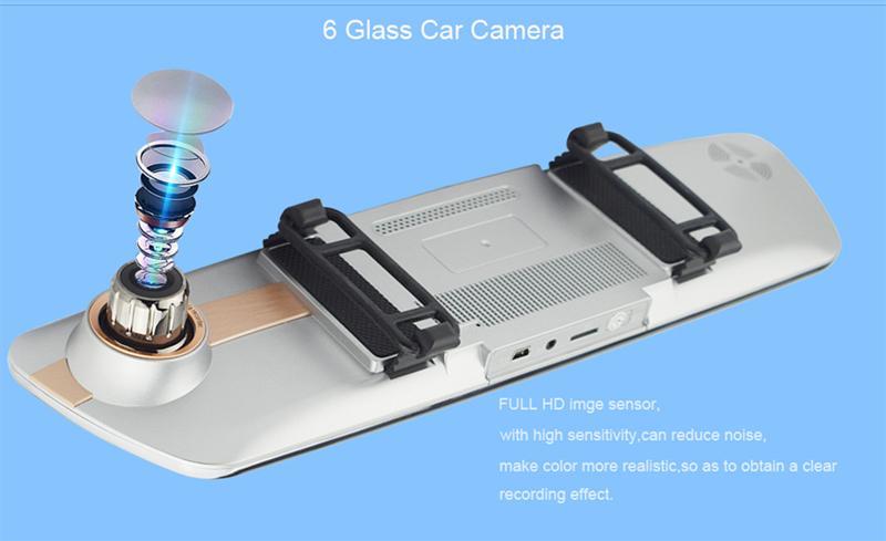 """7"""" Touch-Panel-Auto DVR 2Ch Datenrekorder Spiegel Fahrsicherheit dashcam 1080P volle HD 170 ° weiten Blickwinkel Nachtsicht G-Sensor"""
