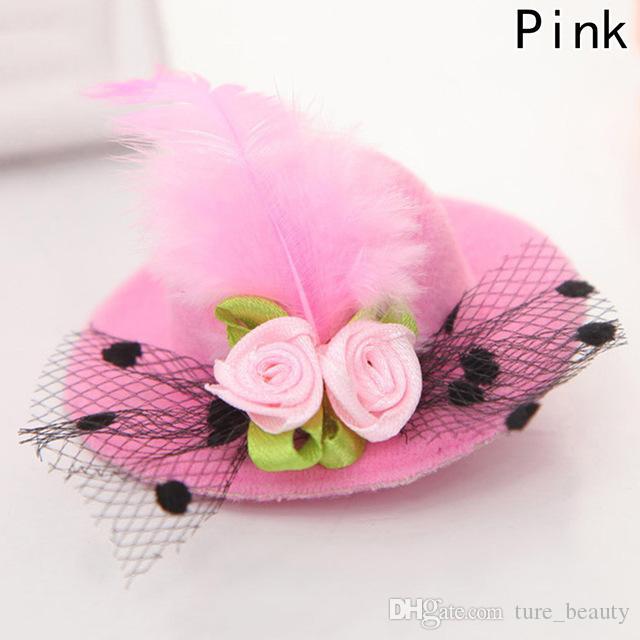 2018 nouveau mignon chapeau cheveux bébé filles parti fil net pince à cheveux brillant chapeau pour enfants bandeau fleurs à plumes accessoires de cheveux épingles à cheveux 24pcs /