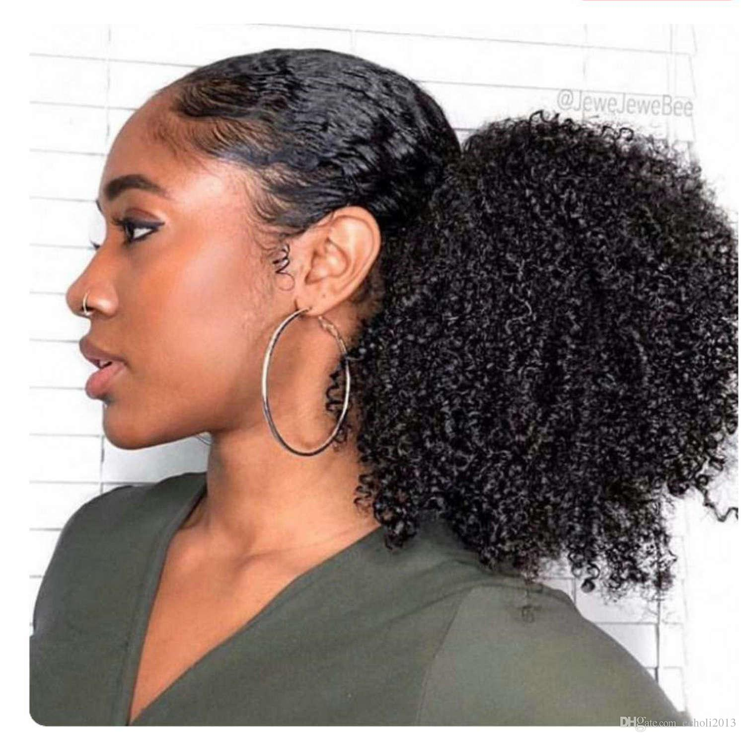 Short Puff Afro Kinky Curly Hair Ponytail Hair Extension Drawstring Ponytails Pieces Buns Peruca Natural Color Cute Ponytail Styles For Short Hair