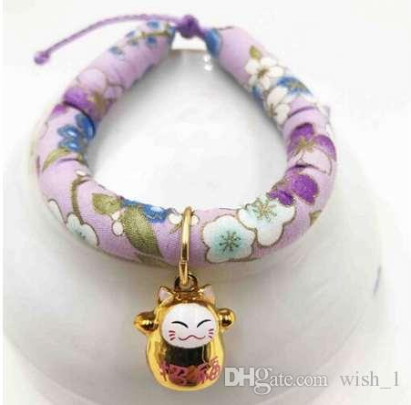 Cat Collar with bell Pet Accessory Choker Japanese Style XL -LRose adjustable