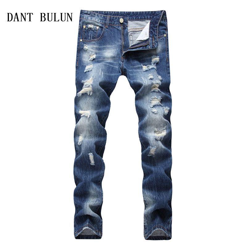 Erkek Biker Jeans İnce Düz Sıkıntılı Akıllı Casual Pamuk Mavi Denim Pantolon Artı boyutu 28-42 Pantolon, TS3951 Ripped