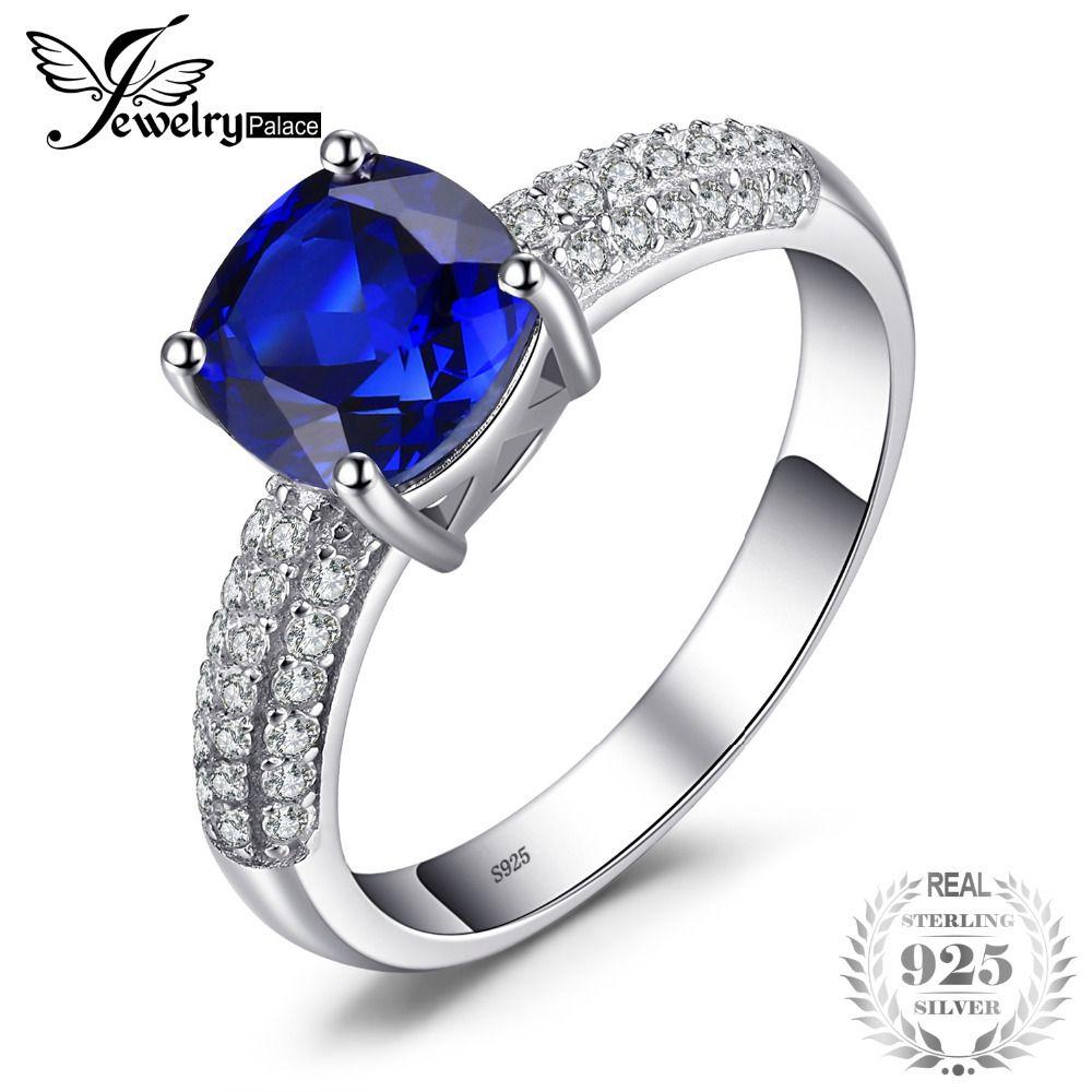 JewelryPalace Cojín 2.6ct Creado Anillo de compromiso de zafiro azul solitario 925 Anillo de plata esterlina Joyería fina para mujeres