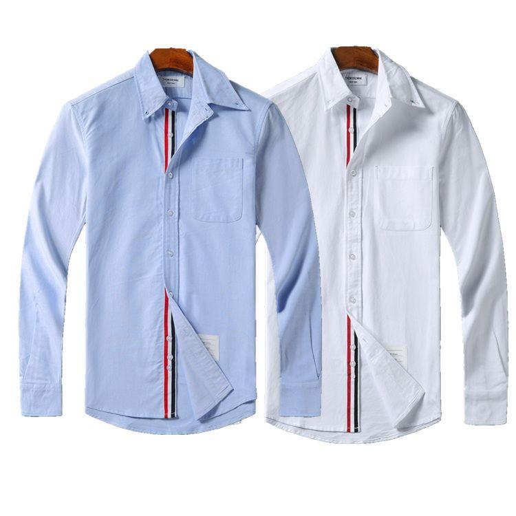 Thom كلاسيكي رجل مصمم قمصان ثلاثي اللون الشريط أزياء قميص طويل الأكمام السل تي شيرت براون البلوز لصديقة الرجل