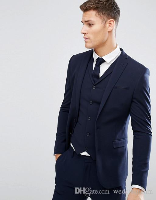 Barato azul marino para hombre trajes slim fit padrinos de boda esmoquin de la boda para hombres en la solapa de la solapa de la espalda de moda traje formal (chaqueta + chaleco + pantalones)