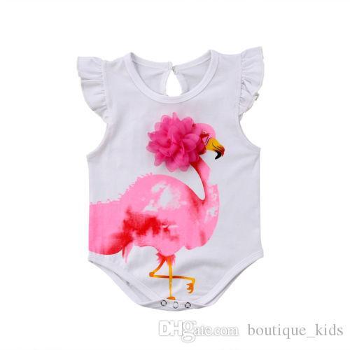 2018 Newborn Baby Girl Vestiti Bella Cotone Estate Pagliaccetto Infantile Del Bambino Ragazze Flamingo Tuta Unico Abiti Abiti Vestiti Tuta