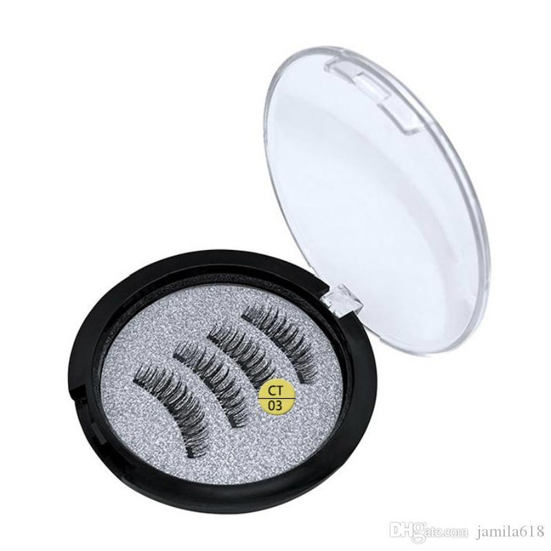 Three magnets eyelashes magnetic false eyelashes 3D magnetic lashes Fake eyelash Fiber Hair full strip Eye lashes Beauty Eyes Makeup
