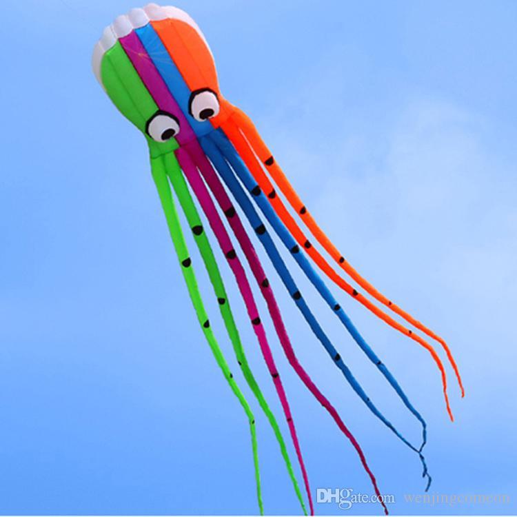 옥외 재미 스포츠 고품질 8m 힘 연 소프트웨어 문어 비행 야외 장난감 부드러운 Frameless 오징어 연