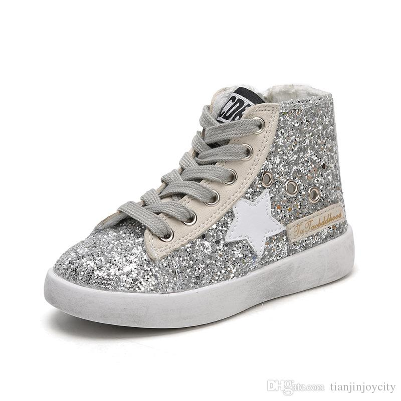 High Top Toddler Shoes Girls Shining Sequins Canvas Shoes Kids Small Dirty Shoes Star Children Sneakers Side Zipper
