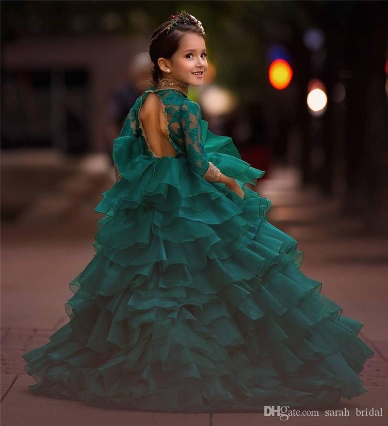 Princess Green Backless Cheap Girls Pageant Dresses 2020 Ball Gown Long Sleeves Gold Lace Organza Girl Birthday Prom Party Gowns for Toddler