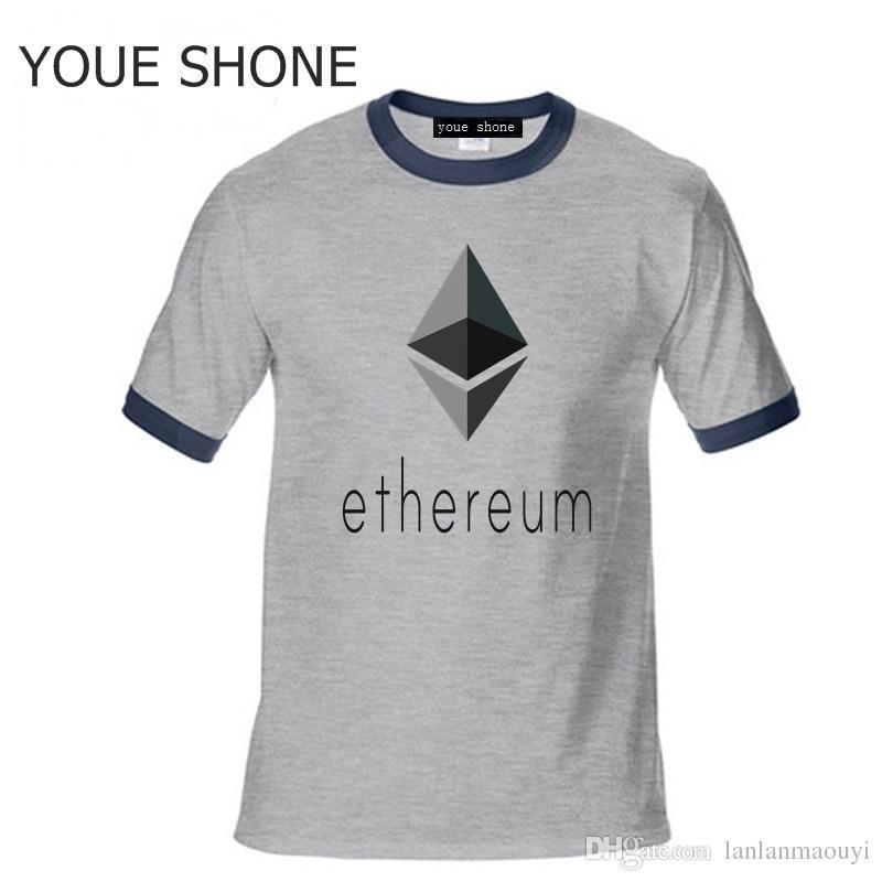 Maglietta Ethereum in cotone Maglietta manica corta Homme Summer Bitcoin Maglietta divertente Maglietta polo 3D in Ethereum Virtual Currency