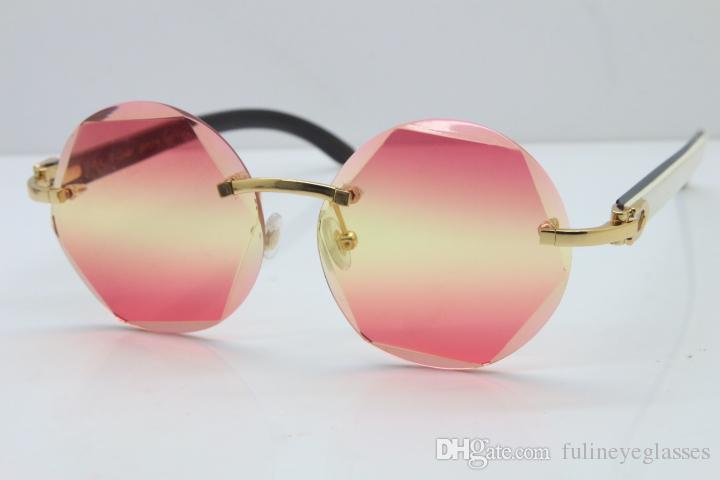 고품질 C 장식 블랙 믹스 화이트 버팔로 호른 선글라스 8200311 무테 선글라스 남여 한정판 패션 브랜드 선글라스