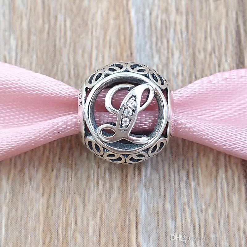 K a T Lettere 925 Branelli in argento sterling 925 Vintage Charm Adatto Bracciali europei Bracciali in stile Pandora Collana 791864CZ