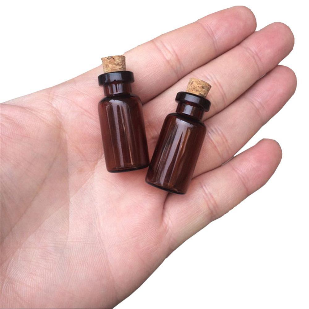 16X35X7 mm 2 ml di profumo vuota Mini Ambra fiale di vetro pendenti di piccole bottiglie di vetro con tappi di sughero Vasi decorativi 100 pezzi